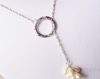 Pearl Lariat Necklace Jewelry - Cluster Jewellery Bridal Bridesmaid Wedding - For Women Gift