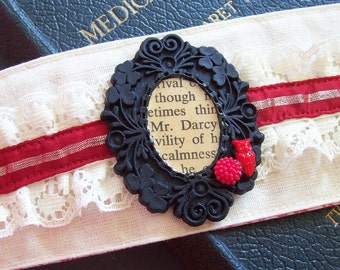 Jane Austen Fabric Cuff Pride and Prejudice I Heart Mr Darcy. Bracelet Vintage Red Text Book Sari Silk. Two Cheeky Monkeys Jewellery