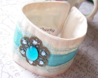SALE Shabby Chic Fabric Cuff Bracelet Vintage Cabochon Aqua Blue Lace Ribbon OOAK Jewellery Jewelry Two Cheeky Monkeys Aquamarine Amphitrite