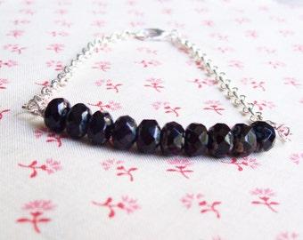 Black Bar Bracelet, Roundels Jewelry Silver Jewellery Delicate. Dainty Noir Womens Teens Contemporary Modern. Handmade Chain dspdavey