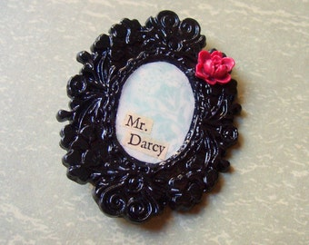 Pride and Prejudice Brooch Mr Darcy Jane Austen. Statement Flower Leaf Cabochon Botanical Cameo Noir Two Cheeky Monkeys Bridal Gothic