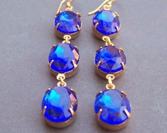 Sapphire Blue Estate Style Earrings. Vintage Glass Jewel Shoulder Dusters. Wedding Gold Jewellery Jewelry Something Blue. Two Cheeky Monkeys