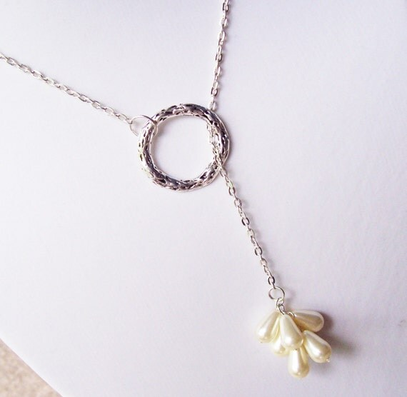 Lariat Necklace, Pearl Cluster