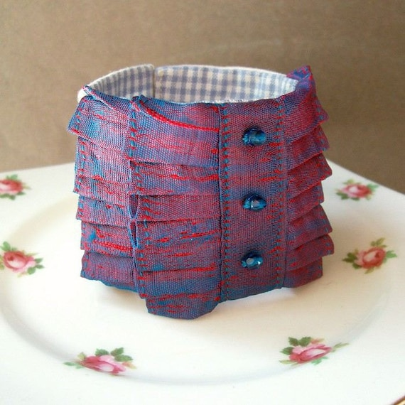 SALE Valparaiso Fabric Cuff Bracelet Vintage Sari Silk Beaded Red Cobalt Blue Cream Linen Gingham Two Cheeky Monkeys Shabby Chic Jewellery