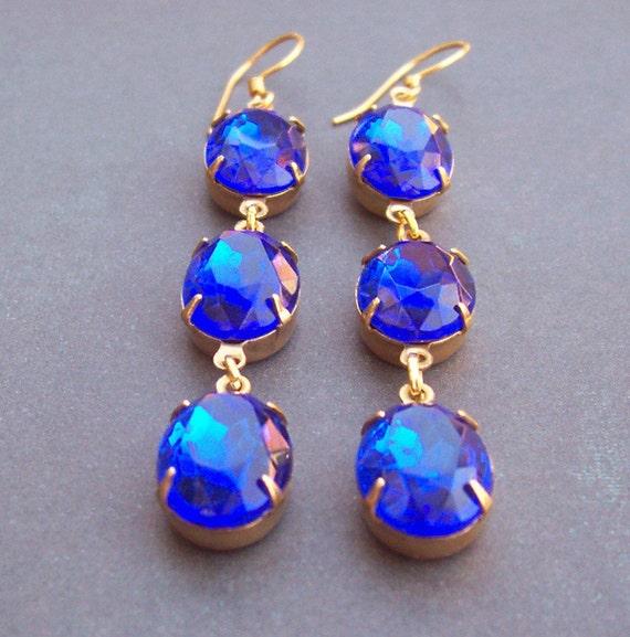 SALE Estate Style Earrings Godiva Vintage Glass Jewel Cascade Sapphire Blue Wedding Gold Jewellery Jewelry Something Blue Two Cheeky Monkeys