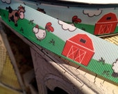 "7/8"" FARM ANIMAL THEMED  Grosgrain Ribbon sold by the yard"