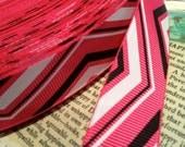 "3 yards 7/8"" CHEVRON Print Grosgrain Ribbon Hot Pink Black and White"