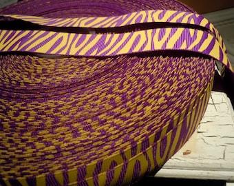 "3 yards 7/8"" Zebra Animal Print Grosgrain Purple LSU Bows and Crafts"