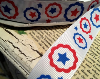"7/8"" PATRIOTIC THEMED Grosgrain Ribbon sold by the yard"