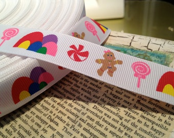 "3 yards 7/8"" Candy Land Themed GingerBread Grosgrain Ribbon bows and crafts Just Adorable"