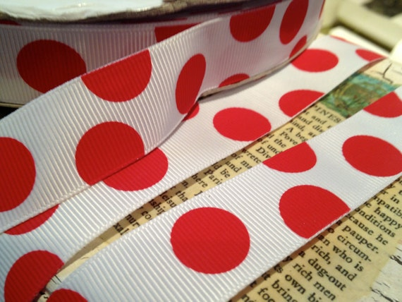 "7/8"" Red and White Dot Christmas Grosgrain sold by the yard"