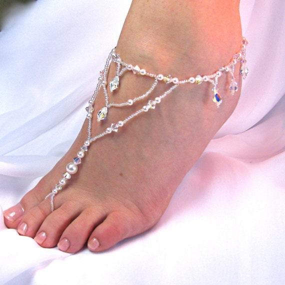 Wedding Foot Jewelry Barefoot Sandal Bridal Beach Sandal Destination Wedding Beaded Sandal Beach Jewelry Bridal Accessory Design 1 fringe