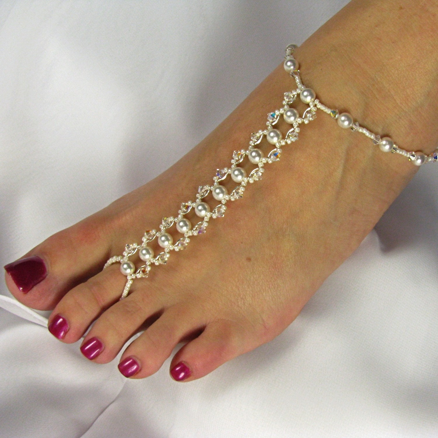 Bridal Foot Jewelry Barefoot Sandals Foot By Twobewedjewelry