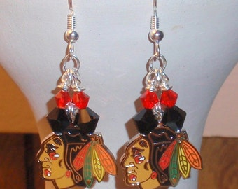Chicago Black Hawks Earrings, Red and Black Crystal Logo Hockey Earrings, Sports Jewelry, Women's Accessories, Gifts