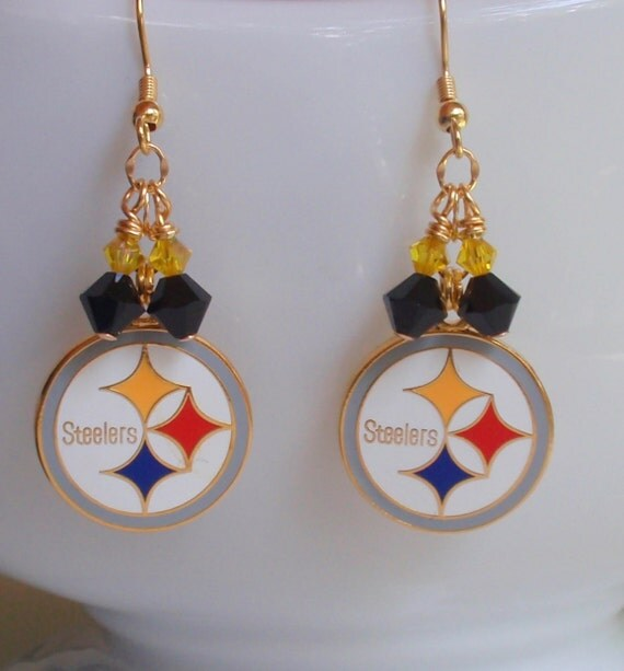 Classic Pittsburgh Steeler Inspired  Black and Gold Crystal Earrings