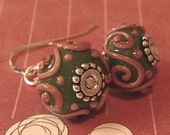 Lampwork Earrings with Swarovski Pearls and Sterling Silver Earwires -Forest Green, Rose, and Burgandy