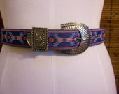 Vintage 80s Southwestern Pink and Turquoise Belt S
