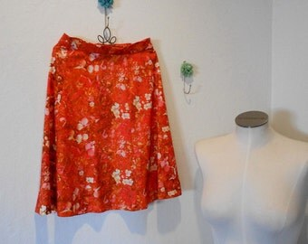 Vintage 60sVibrant  Rustic Orange Floral High waisted Boho Mini Skirt XS-S