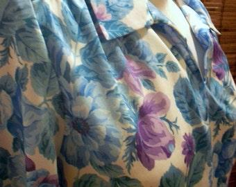 Vintage Lavender and Blue Rose Floral Disco Blouse M-L