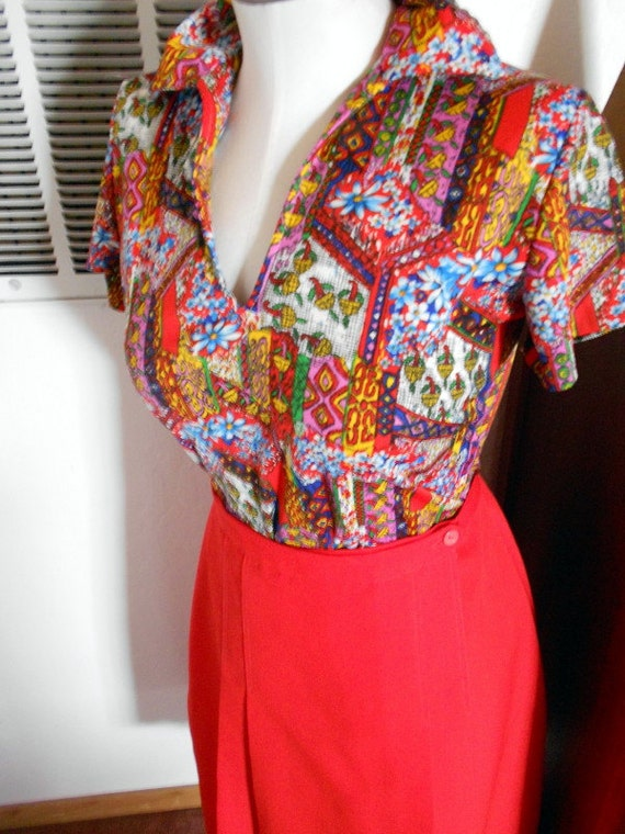 Vintage 70s  Psychedelic Calico Patchwork Print  Disco  Shirt Blouse M