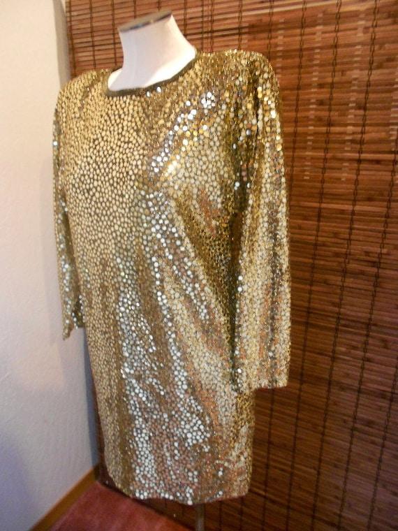 Vintage Metallic Shimmer New Wave Tunic Mini Dress Sz M-L