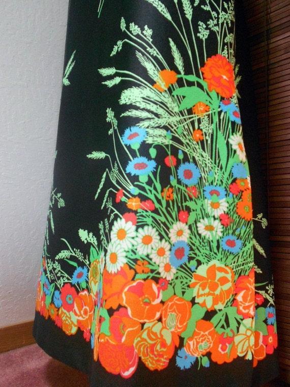 Vintage Vibrant Floral Border Print Maxi Skirt M