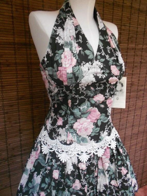 Vintage 80s does 50s DEADSTOCk Scott McClintock Halter floral Drop Waist poof Mini Dress S
