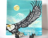 RESERVED Decorative Plate -Seattle Eagle , Original painting by Yury Tarler