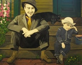 Stoop Sitters- 16x20 Acrylic Painting on Canvasboard