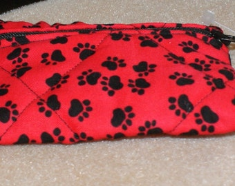 Red Paw Print Pouch  - Small (S101)