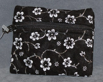 Black with silver glitter and white flowers Pouch  - Small (S7)