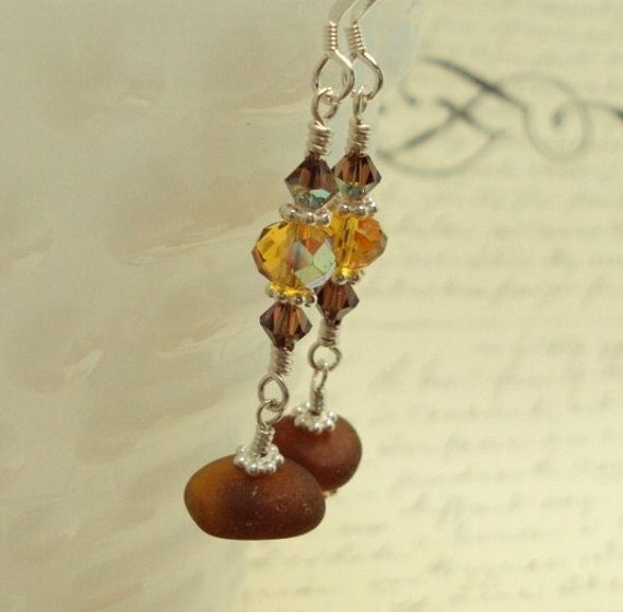 Amber Seaglass Earrings with Crystal  - Victorian Amber