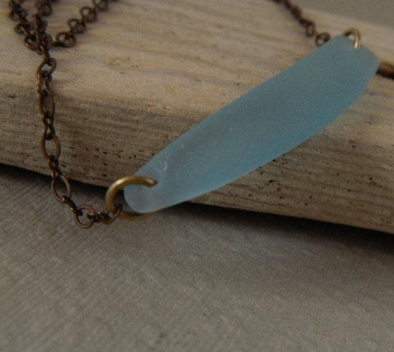 Slate Blue Seaglass Bar Necklace