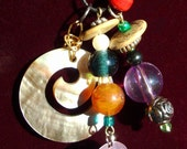 COLORFUL UNIVERSE Necklace, shell disk, colorful, black hemp, ooak, Whimsical, RedRobinArt, Grigsby Gallery and Gifts