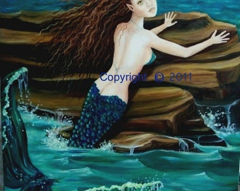 """Mermaid Painting, Oil on Canvas, """"LAMORNA"""", 16  x 20  Original, Unframed, RedRobinArt, Grigsby Gallery and Gifts"""