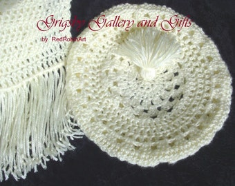 Crocheted BERET and SCARF set, extremely soft, beautiful, Hand made and Fresh, Light creamy off white