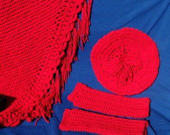 """HALF PRICE SALE, Red Knitted Shawl, Crocheted Beret, Fingerless Gloves, """"Trio in Red"""""""
