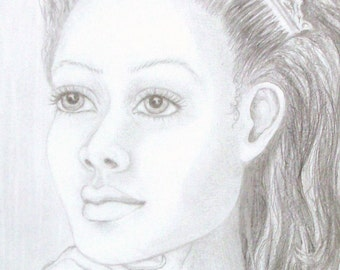 """Original Pencil Portrait, """"REGINA"""", Graphite drawing, RedRobinArt, Grigsby Gallery and Gifts"""
