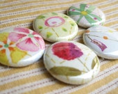 Happy Flower Set of 5 Fabric Magnets