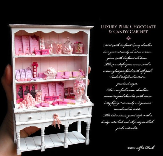 Luxury Chocolate Candy Cabinet in Blush Pink & White - Artisan fully Handmade Miniature in 12th scale. From After Dark miniatures.