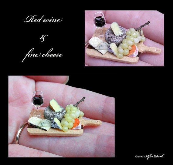 Luxury Wine and Cheese Board - Artisan fully Handmade Miniature in 12th scale. From After Dark miniatures.