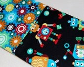 Child Size or Travel Size Pillow Case -- Gear Head Robots with Gear Cuff-- Boys