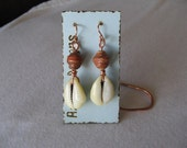 African Paper Bead And Cowrie Earrings