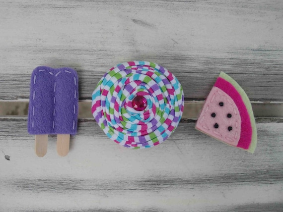 SALE-Summertime Sweets felt/rosette hairclips