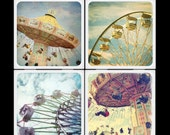 At the fair-ceramic coasters set-carnival-swings-ferris wheel-fair