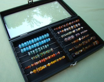 Display storage lampwork bead box will also fit Chamilia, Biagi, Troll and European style beads....two sectioned with glass lid
