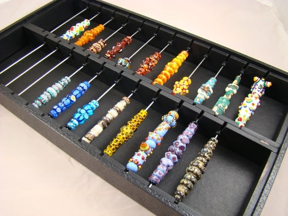 Display and storage tray for lampwork beads.. two-sectioned