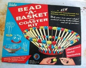 vintage 1950s walco bead -a- basket and coaster kit. fabulous graphics.