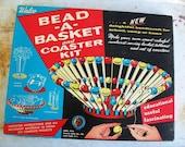vintage 1950s walco bead -a- basket and coaster kit. fabulous graphics.