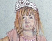 "Custom Portrait Child or Pet in Pastel and Colored Pencil 5x7"" Miniature Vintage Look"